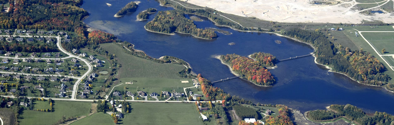 Aerial view of Orangeville and reservoir