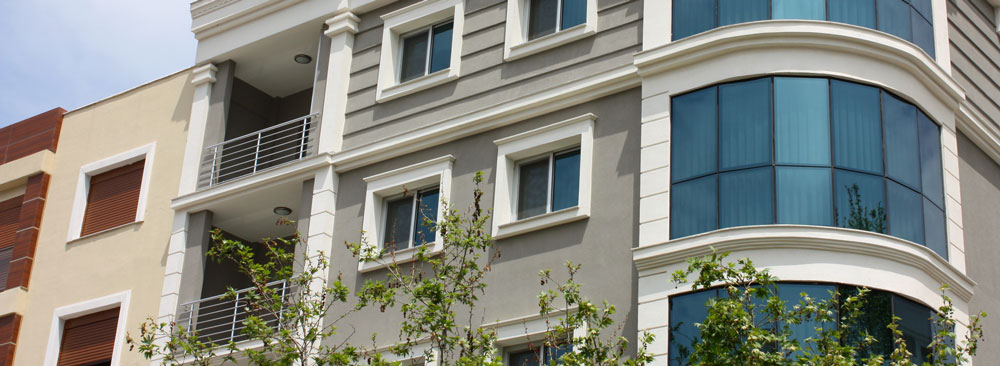Exterior of condominium building
