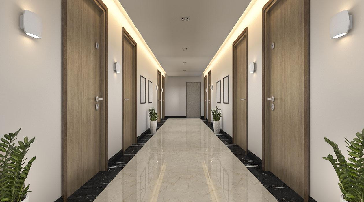 A condo hallway