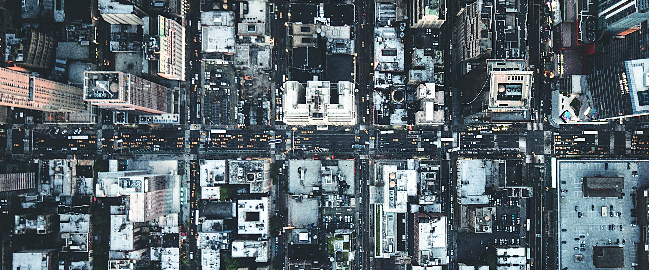 new york city aerial view of the downtown buildings